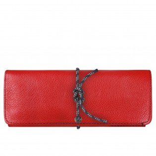 Leather Travel watch roll - red