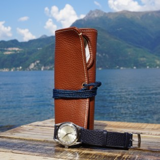 Leather Travel watch roll - camel brown