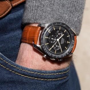Bracelet de montre en cuir d'alligator navy
