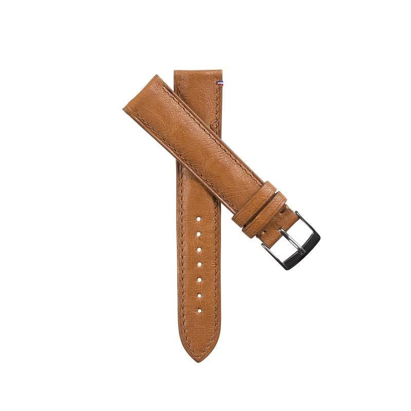 Bracelet de montre en cuir d'autruche camel