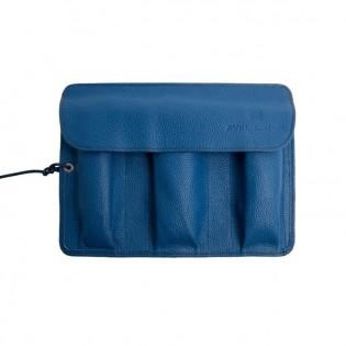 Leather watchroll blue shade