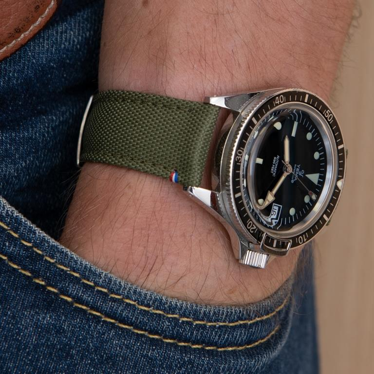 wrist shot yema superman bracelet toile kaki