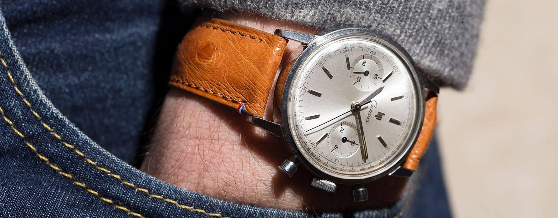 Chronograph Lip Genève 1960s on Avel & Men leather strap